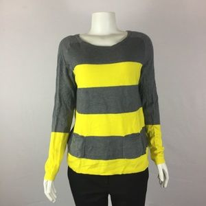 LOFT Yellow Gray Sweater Az M Long Sleeve